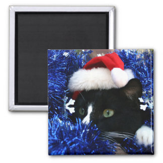 Black and white tuxedo cat christmas hat tinsel fridge magnet