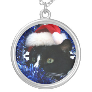 Black and white tuxedo cat christmas hat tinsel necklaces