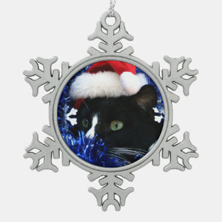 Black and white tuxedo cat christmas hat tinsel ornaments