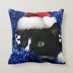 Black and white tuxedo cat christmas hat tinsel pillow