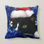 Black and white tuxedo cat christmas hat tinsel pillows