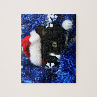 Black and white tuxedo cat christmas hat tinsel jigsaw puzzles
