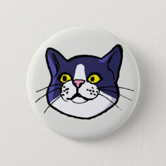 Black and White Tuxedo Cat Drawing Button Badge