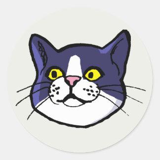 Black and White Tuxedo Cat Drawing Round Sticker