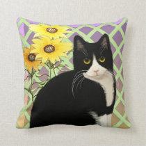 Black and White Tuxedo Cat in the Garden Throw Pillow