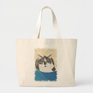 Black and White Tuxedo Cat on Blue, bags