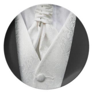 Black and White Tuxedo Collar Melamine Plate