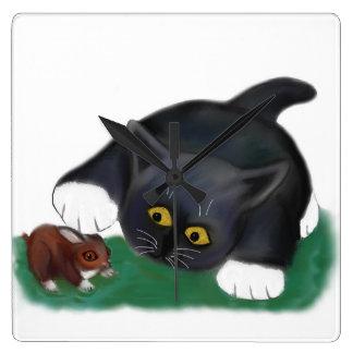 Black and White Tuxedo Kitten Pets his Friend, Bun Square Wallclock