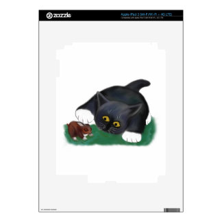 Black and White Tuxedo Kitten Pets his Friend, Bun Decals For iPad 3