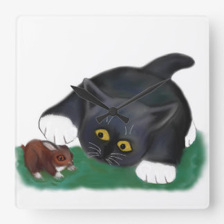 Black and White Tuxedo Kitten Pets his Friend, Bun Square Wall Clock