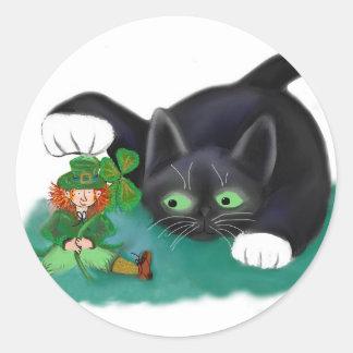 Black and White Tuxedo Kitten Tags his Leprechaun