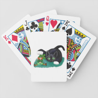 Black and White Tuxedo Kitten Tags his Leprechaun Bicycle Playing Cards