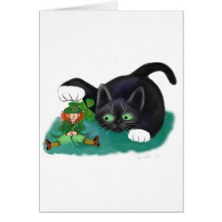 Black and White Tuxedo Kitten Tags his Leprechaun Card