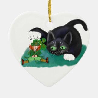 Black and White Tuxedo Kitten Tags his Leprechaun Ceramic Ornament