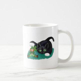 Black and White Tuxedo Kitten Tags his Leprechaun Coffee Mug
