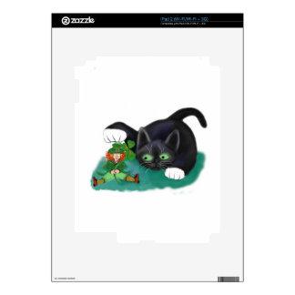 Black and White Tuxedo Kitten Tags his Leprechaun iPad 2 Skin