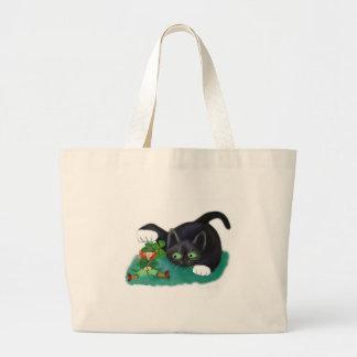 Black and White Tuxedo Kitten Tags his Leprechaun Large Tote Bag