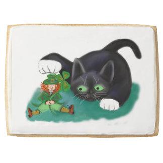 Black and White Tuxedo Kitten Tags his Leprechaun Shortbread Cookie