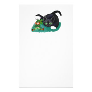 Black and White Tuxedo Kitten Tags his Leprechaun Stationery
