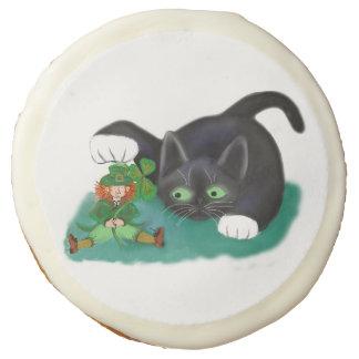 Black and White Tuxedo Kitten Tags his Leprechaun Sugar Cookie