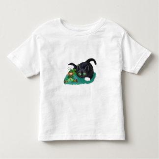 Black and White Tuxedo Kitten Tags his Leprechaun Toddler T-shirt