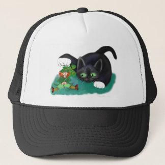 Black and White Tuxedo Kitten Tags his Leprechaun Trucker Hat