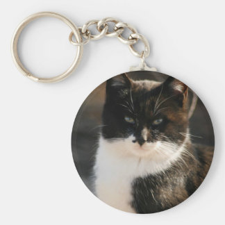 Black and White Tuxedo Kitty Key Chain