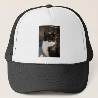 Black and White Tuxedo Kitty Trucker Hat