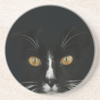Black and White Tuxedo Kitty With Golden Eyes Drink Coaster