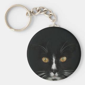 Black and White Tuxedo Kitty With Golden Eyes Key Chains