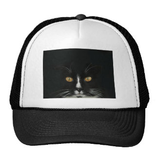 Black and White Tuxedo Kitty With Golden Eyes Trucker Hat