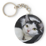Black and White/Tuxedo Medium Hair Cat Keychain