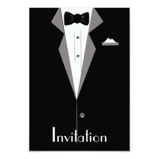 Black and White Tuxedo Suit Art Invitation Card 9 Cm X 13 Cm Invitation Card