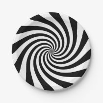 Black and White Twirl Pattern Paper Plate