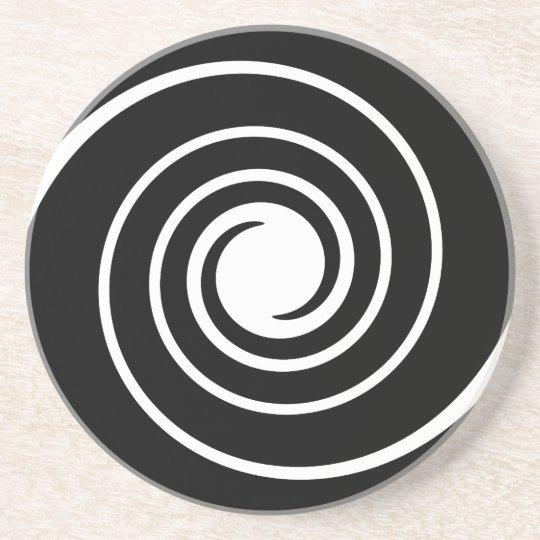Black and White Twist. Sandstone Coaster