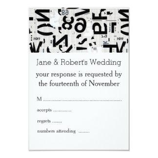 "Black and White Type Wedding Response Card 3.5"" X 5"" Invitation Card"