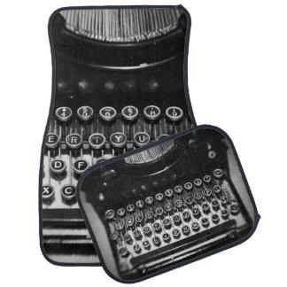 Black and White Typewriter Car Floor Mat