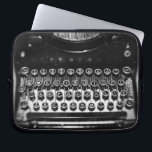 """Black and White Typewriter Laptop Sleeve<br><div class=""""desc"""">Amazing still life of an old typewriter.  Fun and unique design.</div>"""