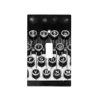 Black and White Typewriter Light Switch Cover