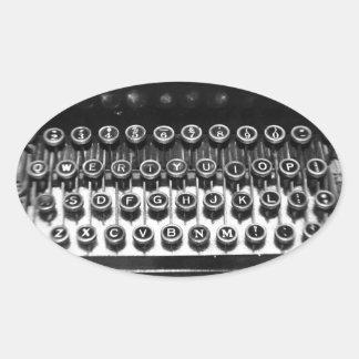 Black and White Typewriter Oval Sticker