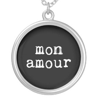 Black and White Typewritten Mon Amour Round Pendant Necklace