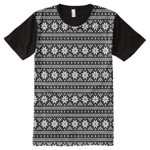 Black and white ugly christmas sweater t shirt zazzle for Black sweater white shirt