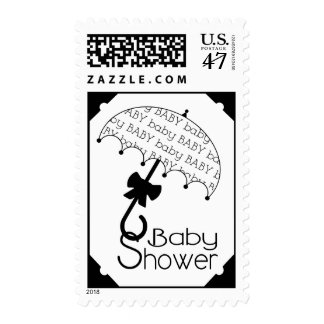 Black And White Umbrella Baby Shower Postage