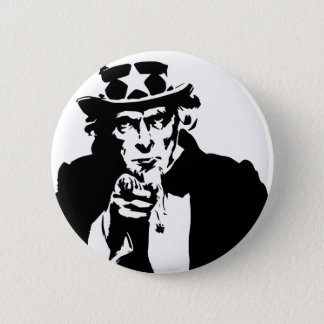 Black and White Uncle Sam Icon Pinback Button
