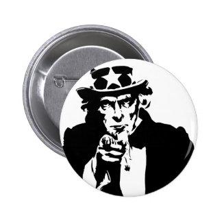 Black and White Uncle Sam Icon Pinback Button