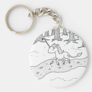 Black and white Unicorn galloping Key Chains