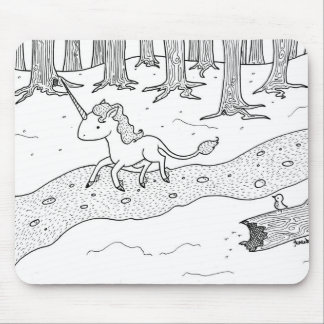 Black and white Unicorn galloping Mouse Pad
