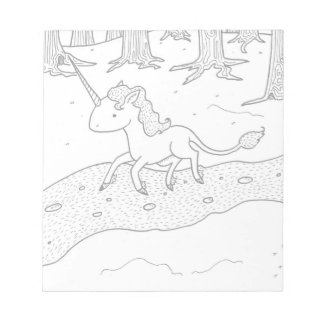 Black and white Unicorn galloping Notepad