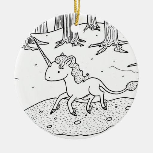 Black and white Unicorn galloping Ornaments