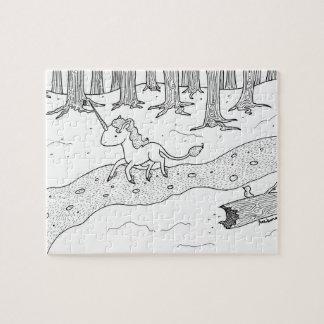 Black and white Unicorn galloping Puzzle